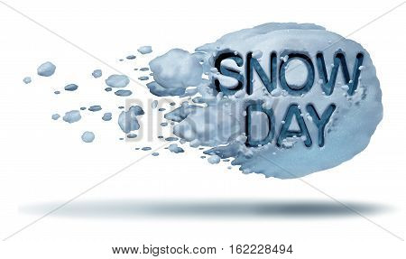 Snow day weather symbol as a flying snowball with text embossed in the frozen ice crystals as a fun winter season activity concept with 3D illustration elements.