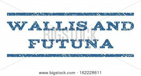 Wallis and Futuna watermark stamp. Text tag between horizontal parallel lines with grunge design style. Rubber seal stamp with dust texture. Vector cobalt color ink imprint on a white background.