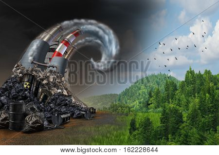 Pollution wave concept and environmental danger symbol as industrial dirty waste and garbage shaped as an ocean storm wave as a metaphor for the risk of toxic air and the effects on climate with 3D illustration elements.