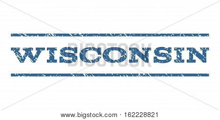Wisconsin watermark stamp. Text caption between horizontal parallel lines with grunge design style. Rubber seal stamp with unclean texture. Vector cobalt color ink imprint on a white background.