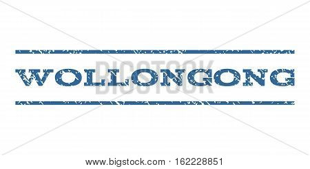 Wollongong watermark stamp. Text caption between horizontal parallel lines with grunge design style. Rubber seal stamp with unclean texture. Vector cobalt color ink imprint on a white background.