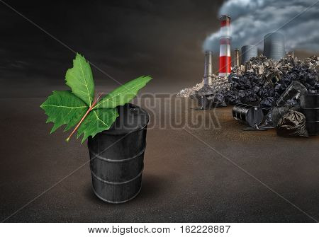 Pollution conservation hope environmental concept as a leaf shaped as a butterfly on an old dirty petroleum oil can with industrial urban pollution landscape in the background with 3D illustration elements.