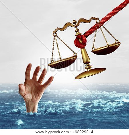 Legal aid concept and law help or lawyer services concept as a justice scale being offered to save a drowning person as a symbol of attorney services solving problems as a metaphor with 3D illustration elements.