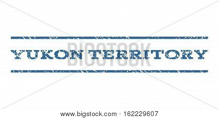 Yukon Territory watermark stamp. Text tag between horizontal parallel lines with grunge design style. Rubber seal stamp with dirty texture. Vector cobalt color ink imprint on a white background.