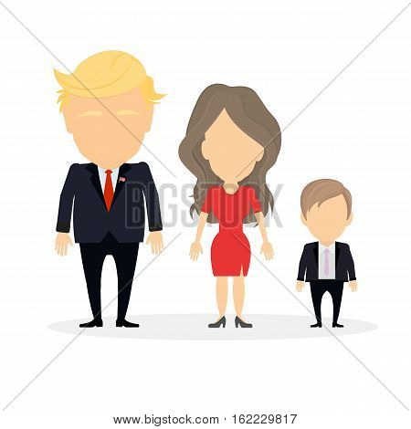 Russia, December 19 2016 Donald Trump with wife Melania and their son. New american president and First lady of the United States.