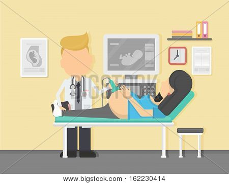 Ultrasound during pregnancy. Doctor doing sonography to a pregnant woman.