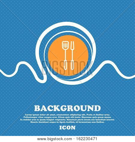 Kitchen Utensils Set Icon Sign. Blue And White Abstract Background Flecked With Space For Text And Y