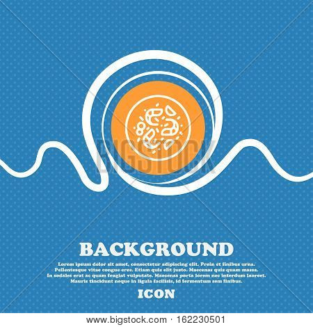 Bacteria Icon Sign. Blue And White Abstract Background Flecked With Space For Text And Your Design.