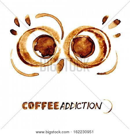 Coffee addiction - Funny eyes of owl by coffee stains
