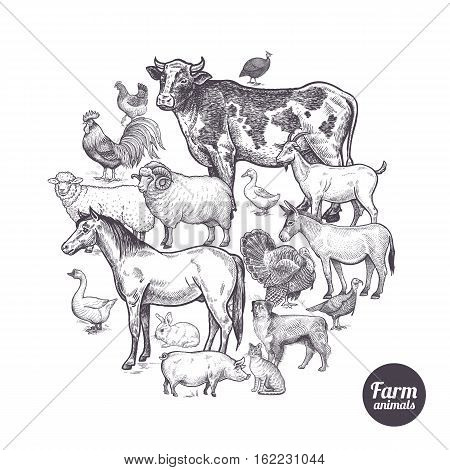 The composition in the circle with farm animals and birds. Designed for shops of farm products advertising banners print on bags packaging wrapping paper. Vintage. Vector illustration.