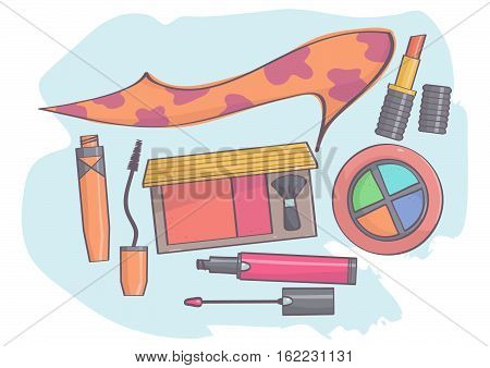 Colorful set with animal print stiletto shoe and makeup products.