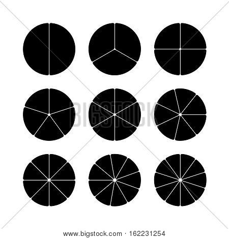 Circle segments set. Various number of sectors divide the circle on equal parts. From 2 to 10. Black flat fill. Slightly rounded corners.