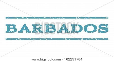Barbados watermark stamp. Text tag between horizontal parallel lines with grunge design style. Rubber seal stamp with dust texture. Vector cyan color ink imprint on a white background.