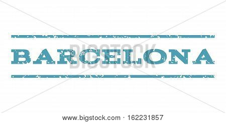 Barcelona watermark stamp. Text caption between horizontal parallel lines with grunge design style. Rubber seal stamp with dust texture. Vector cyan color ink imprint on a white background.