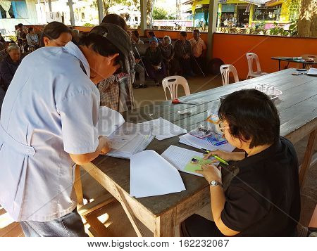 CHIANG RAI THAILAND - DECEMBER 19 : Unidentified asian doctors diagnose people suffering from leprosy on December 19 2016 in Chiang rai Thailand.