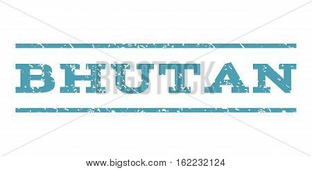 Bhutan watermark stamp. Text tag between horizontal parallel lines with grunge design style. Rubber seal stamp with scratched texture. Vector cyan color ink imprint on a white background.