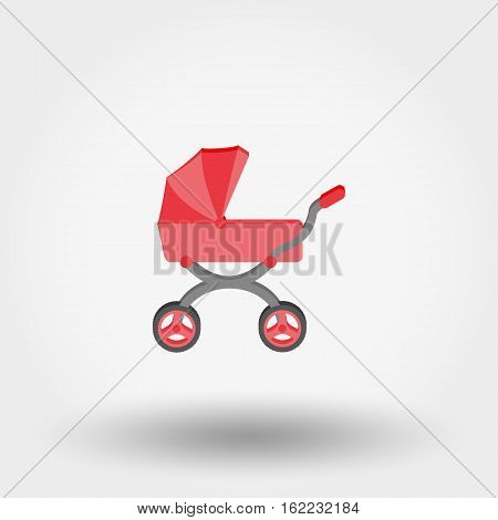 Baby carriage. Icon for web and mobile application. Vector illustration on a white background. Flat design style