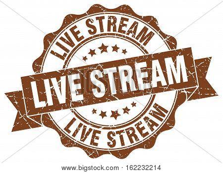 live stream. stamp. sign. seal. round. retro. ribbon
