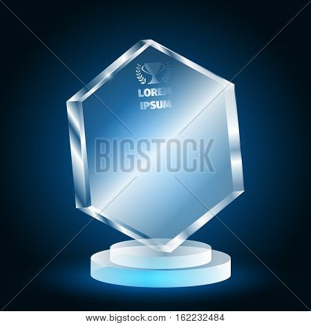Glass trophy for the winner on a blue background. 3D prize of Plexiglas.