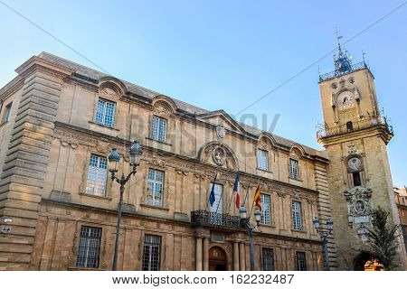 city hall building with blue sky in Aix-en-Provence