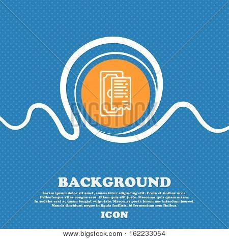 Cheque Icon Sign. Blue And White Abstract Background Flecked With Space For Text And Your Design. Ve