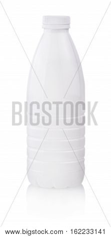 White plastic yogurt milk bottle with lid isolated on white background. Packaging template mockup collection. With clipping Path included.