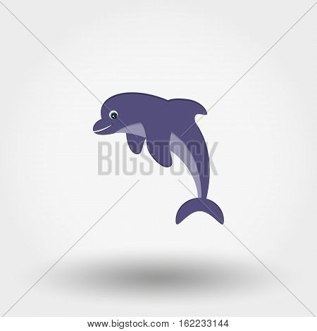 Dolphin icon for web and mobile application. Vector illustration on a white background. Flat design style