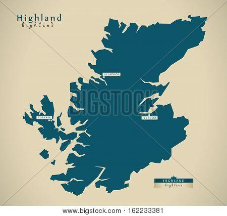 Modern Map - Highland Uk Scotland Illustration
