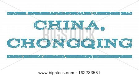 China, Chongqing watermark stamp. Text tag between horizontal parallel lines with grunge design style. Rubber seal stamp with unclean texture. Vector cyan color ink imprint on a white background.