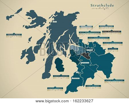 Modern Map - Strathclyde Uk Scotland Illustration