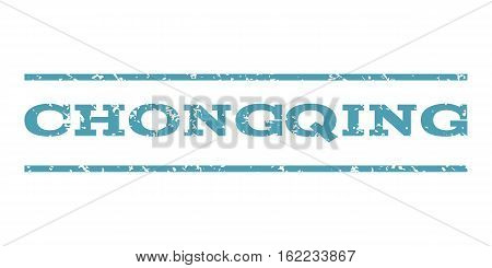 Chongqing watermark stamp. Text caption between horizontal parallel lines with grunge design style. Rubber seal stamp with scratched texture. Vector cyan color ink imprint on a white background.