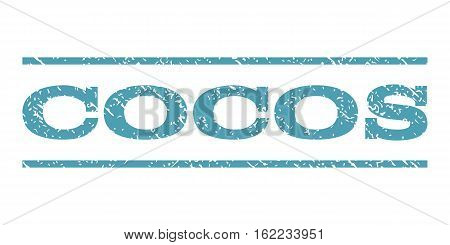 Cocos watermark stamp. Text tag between horizontal parallel lines with grunge design style. Rubber seal stamp with scratched texture. Vector cyan color ink imprint on a white background.