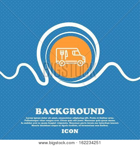 Food Truck Icon Sign. Blue And White Abstract Background Flecked With Space For Text And Your Design