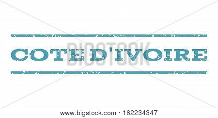 Cote D'Ivoire watermark stamp. Text tag between horizontal parallel lines with grunge design style. Rubber seal stamp with dust texture. Vector cyan color ink imprint on a white background.