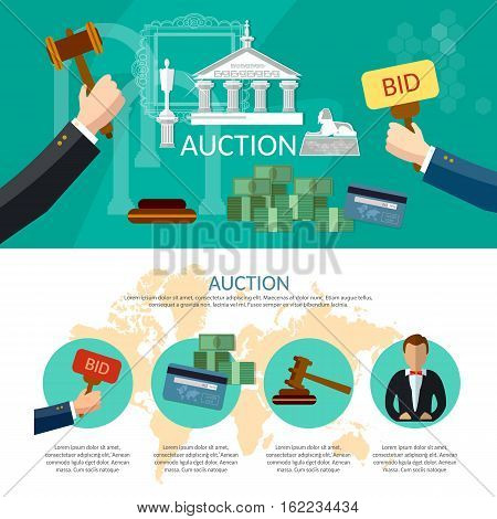 Auction and bidding infographics antiques art object culture auction bidding concept vector illustration