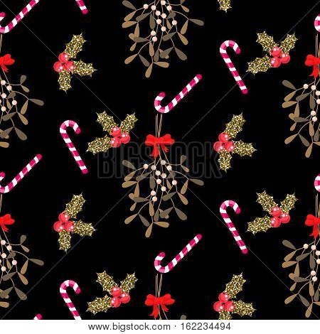 Xmas kissing bough black and gold seamless vector pattern. Traditional plant tied with red bow. Holly berry and candy cane dark background.