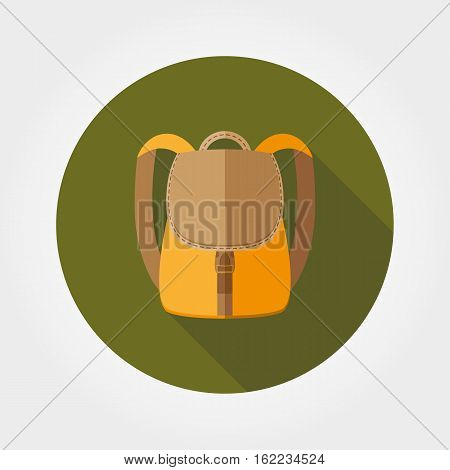Backpack. Icon for web and mobile application. Vector illustration of a button with a long shadow. Flat design style.