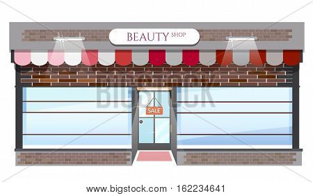 Fashion store fashion shop building windows empty for your store product presentation or design vector cartoon illustration