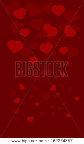 Red background with red hearts on dark reed background