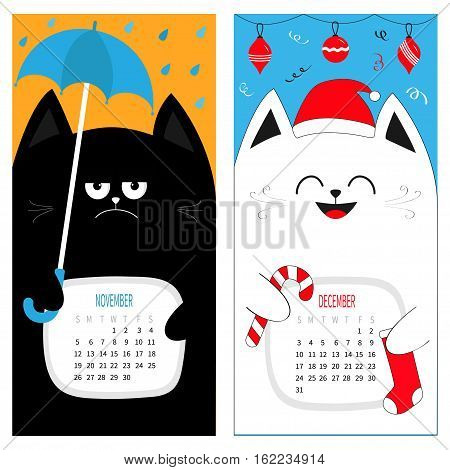 Cat calendar 2017. Cute funny cartoon character set. November December autumn winter month. Rain umbrella Santa red hat Hanging Merry Christmas ball sock Candy cane Flat design Color background Vector