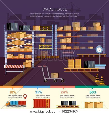 Warehouse infographic interior box on rack and warehouse building. Logistic and delivery service concept vector