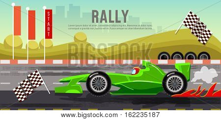 Car racing banner car on a start line racing bolides formula car speeding tyre drift on race circuit finish line vector