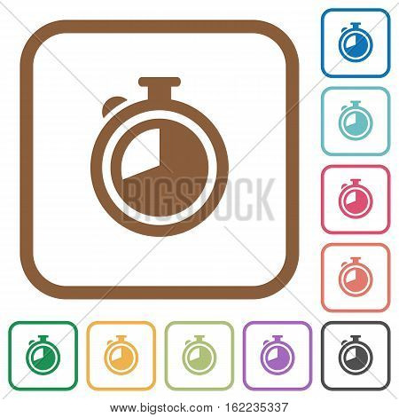 Timer simple icons in color rounded square frames on white background