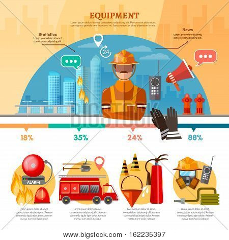 Professional firefighters infographic equipment fireman fire station fire alarm in building vector illustration