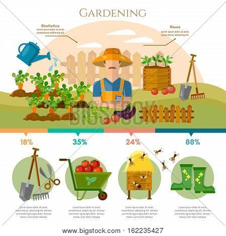 Farm agriculture infographics gardening farmer natural food farmer products. Gardening farmer grows vegetables on his land cartoon vector