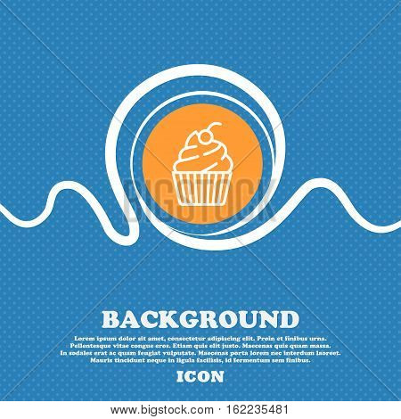 Cupcake Icon Sign. Blue And White Abstract Background Flecked With Space For Text And Your Design. V