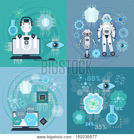 Creation of robots nanotechnologies set. Artificial intelligence modern technologies microchips development future technologies vector