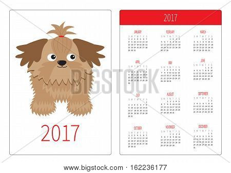 Pocket calendar 2017 year. Week starts Sunday. Flat design Vertical orientation Template. Little glamour tan Shih Tzu dog. Isolated. White background. Vector illustration