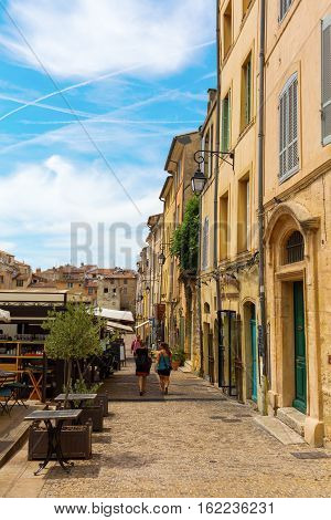Place Des Cardeurs With Several Cafes In Aix-en-provence, France
