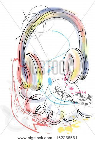 abstract head phones isolated on a white background
